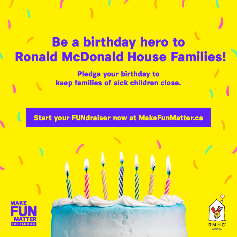 Cake with Candles inviting people to start a birthday fundraiser on makefunmatter.ca