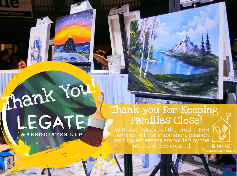 Paintings on easels with thank you message to Legate and Associates for hosting the Art Battle Event