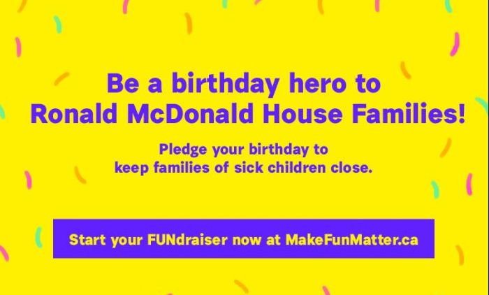 Become A Birthday Hero for RMHC-SWO